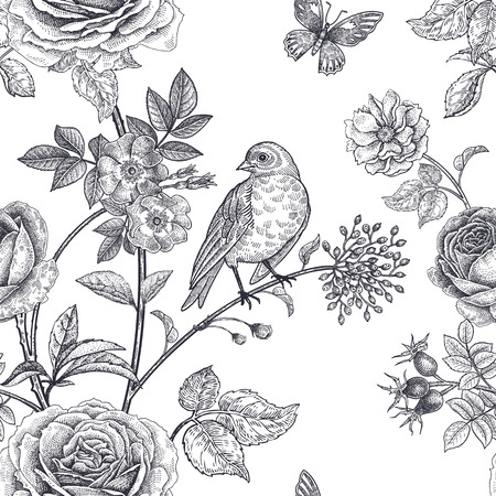 Fiori da giardino rose, peonie e rosa canina, uccelli e farfalle. Motivo floreale vintage senza soluzione di continuità. Bianco e nero. Stile vittoriano Illustrazione vettoriale Modello per tessuti di lusso, carta, carta da parati. Archivio Fotografico - 95815502