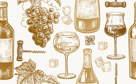 Seamless vector pattern of wine drinking. Bottles, berries of grapes, glasses with white and red wine, ice, mint, corkscrew. Gold and white. Vector illustration art. Vintage engraving. Hand drawing. Ilustração