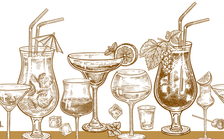 Seamless vector pattern with alcohol drinking. Cocktails, glasses with wine, vodka and tequila, ice, mint, berries and lemon. Gold and white. Vector illustration. Vintage engraving. Hand drawing.