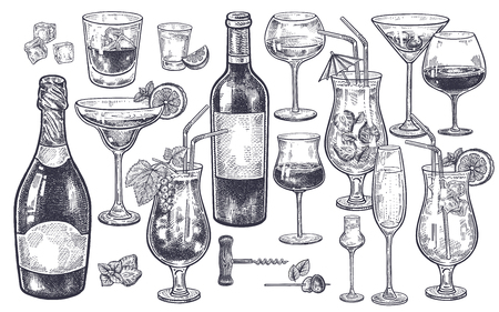 Alcoholic drinks set. Vintage hand drawing. Bottles with wine and champagne, glasses, cocktails, beverages, ice slices and corkscrew. Isolated black image on white background. Vector illustration.