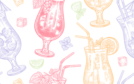 Seamless vector pattern of wine drinking. Alcoholic cocktails on a white background. Vector illustration art. Vintage engraving. Hand drawing. Illustration