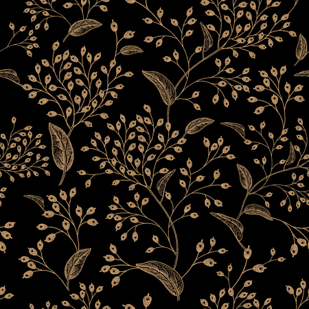 Floral vintage seamless pattern. Black and gold oriental style. Иллюстрация