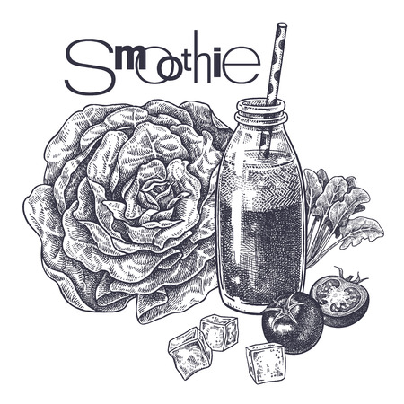 Smoothies. Healthy diet food. Vegetables, lettuce, spinach and tomatoes for the preparation of beverage. Black and white. Hand drawing. Vintage engraving. Vector illustration art for menus and recipes