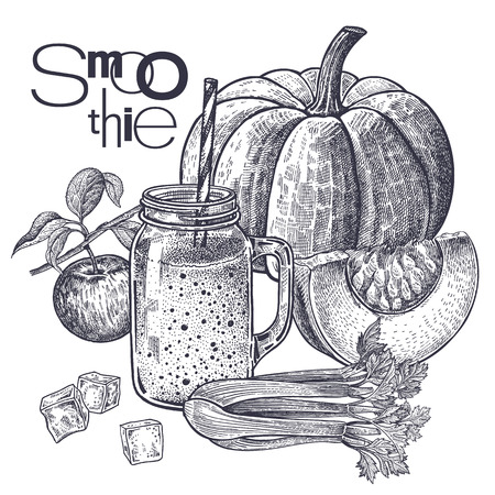 Smoothies. Healthy diet food. Fruits and vegetables, apple, pumpkin and celery for preparation of beverage. Black and white. Hand drawing. Vintage engraving. Vector illustration for menus and recipes