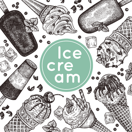Poster with ice cream. Ice cream in waffle cones with chocolate crumb, berries, cookies and chocolate icing, ice lolly. Black and white. Vintage engraving. Vector illustration. For menu of cafe, sign.