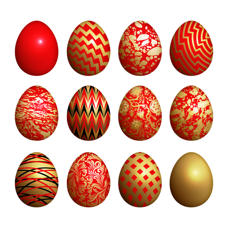 Easter eggs set. Realistic image isolated on white background. Flower, geometric and marble patterns. Gold foil, red and white color. Vector illustration art.