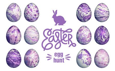Easter eggs set isolated on white background, lettering Illustration