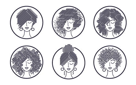 Women's hairstyles black and white icons. Set of abstract girls faces. Vector illustration for design packing shampoo, hair cosmetics, hairdressing signage, flyers, advertising.