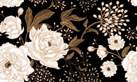 Peonías y rosas. Patrón sin costuras vintage floral. Oro y flores blancas, hojas, ramas y bayas sobre fondo negro. Estilo oriental Arte de ilustración vectorial Para el diseño textil, papel.