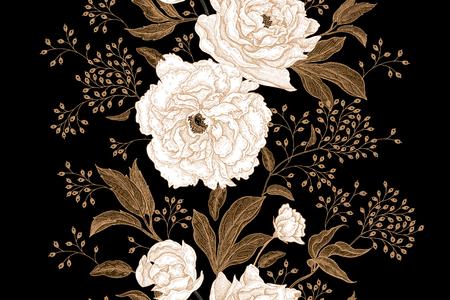 Pioenrozen en rozen. Bloemen uitstekend naadloos patroon. Gouden en witte bloemen, bladeren, takken en bessen op zwarte achtergrond. Oosterse stijl. Vector illustratie kunst. Voor designtextiel, papier.