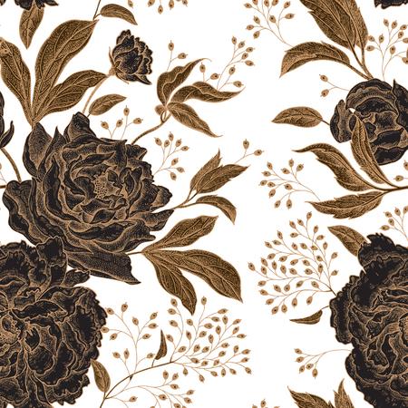 Peonías y rosas. Patrón sin costuras vintage floral. Flores doradas y negras, hojas, ramas y bayas sobre fondo blanco. Estilo oriental Arte de ilustración vectorial Para el diseño textil, papel.