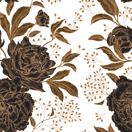 Peonies and roses. Floral vintage seamless pattern. Gold and black flowers, leaves, branches and berries on white background. Oriental style. Vector illustration art. For design textiles, paper. Vettoriali