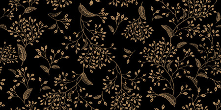 Floral vintage seamless pattern. Black and gold. Oriental style. Vector illustration art. For design textiles, paper, wallpaper.