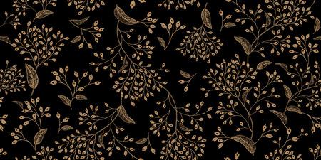 Floral vintage seamless pattern. Black and gold. Oriental style. Vector illustration art. For design textiles, paper, wallpaper. Standard-Bild - 97668066