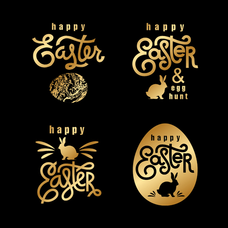 Easter wishes set. Hand-drawing labels design. Lettering, silhouette of easter hare and easter eggs. Emblems and sigs of religious holiday. Gold foilÊlogo. Vector illustration for web and print. Vettoriali
