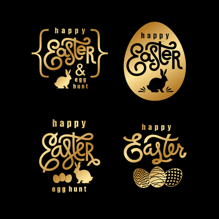 Easter wishes set. Hand-drawing labels design. Lettering, silhouette of easter hare and easter eggs. Emblems and sigs of religious holiday. Gold foilÊlogo. Vector illustration for web and print.