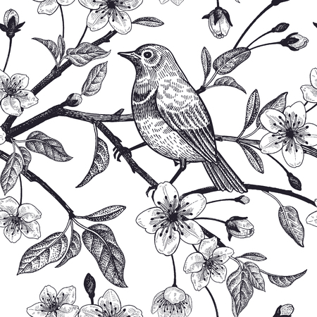Seamless pattern with Japanese cherry and bird sketch. Vector. Black and white.