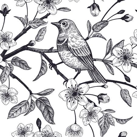 Wzór z japońskiej wiśni i szkicu ptaka. Wektor. Czarny i biały.
