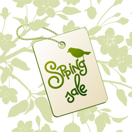 Spring sale background. The inscription and silhouette of a flowering branch of Japanese cherry and bird. Vector. 向量圖像