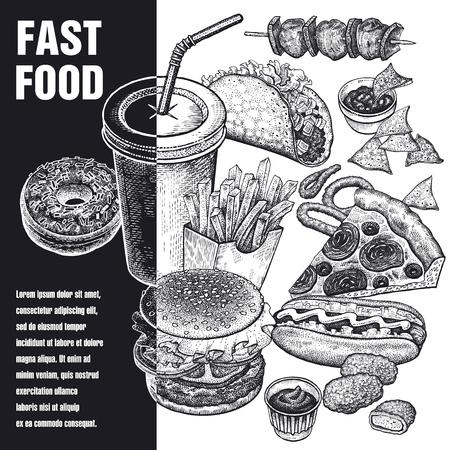 Fast food poster Vector illustration