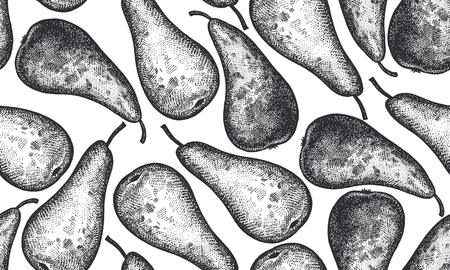 Seamless vector pattern with pear fruits in Black and white illustration. Ilustração