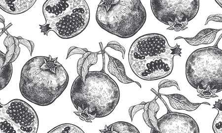Seamless vector pattern with pomegranate fruits in Black and white illustration. Vettoriali