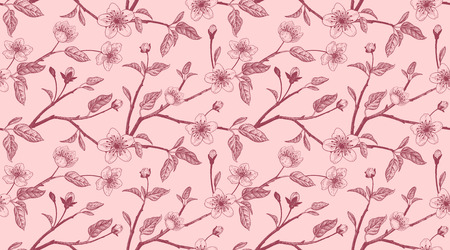 Spring floral vintage seamless pattern with Japanese cherry. 矢量图像