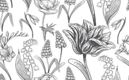 Spring flowers. Flower vintage seamless pattern. Vectores