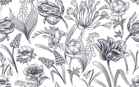 Spring flowers. Flower vintage seamless pattern. Vettoriali