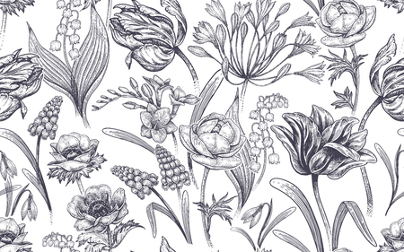 Spring flowers. Flower vintage seamless pattern. 矢量图像