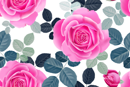 Garden flowers rose. Seamless floral pattern. Vector illustration - template of luxury packaging, textiles, paper. Pink flowers and green leaves on white background. Иллюстрация