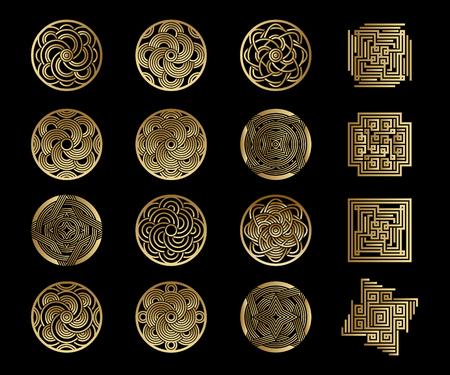 Set di icone vettoriali. Modelli astratti per monogrammi, loghi, simboli, identità aziendale. Modelli di illustrazione artistica con elementi di geometria. Stampa lamina d'oro su sfondo nero. Vettoriali