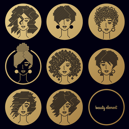 Womens hairstyles. Set of girls faces gold foil printing on black background in a circle. Vector illustration for design packing shampoo, hair cosmetics, hairdressing signage, flyers, advertising. Illustration