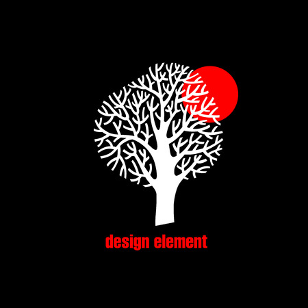 Illustration with the image of a tree. Vector abstract flat icon. The modern concept of white and red printing on black background. Vintage. Design organic natural motifs.