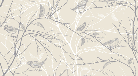 Seamless pattern with tree branches and forest birds. Vector illustration art. Natural design for textiles, paper, wallpapers. Black on pastel background.