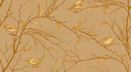 Seamless pattern with tree branches and forest birds. Vector illustration art. Natural design for textiles, paper, wallpapers. Print of gold foil.