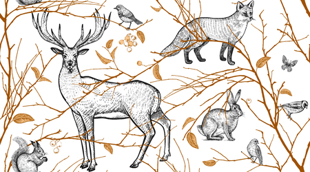Modello senza cuciture con rami di alberi, animali della foresta e uccelli. Cervo, volpe, lepre, scoiattolo. Arte di illustrazione vettoriale. Design naturale per tessuti, tessuti, carta, carte da parati. Oro nero, bianco. Vintage ?.