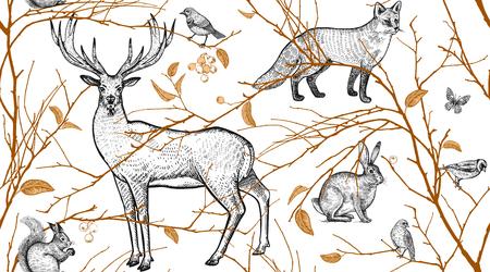 Wzór z gałęzi drzew, zwierząt leśnych i ptaków. Jeleń, lis, zając, wiewiórka. Sztuka ilustracji wektorowych. Naturalny design dla tkanin, tekstyliów, papieru, tapet. Czarny złoty, biały. Zabytkowe.
