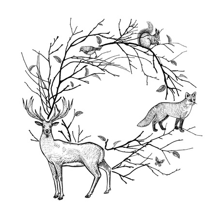 Decorative frame with tree branches, leaves and animals. Black and white background. Forest animals deer, fox, hare, squirrel and bird. Hand drawing of wildlife. Vector illustration art. Vintage.