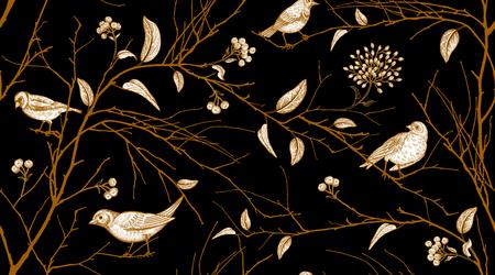 Modello senza cuciture con rami di alberi e uccelli della foresta. Arte di illustrazione vettoriale. Design naturale per tessuti, carta, sfondi. Stampa di lamina d'oro su sfondo nero. Vettoriali