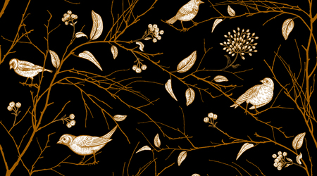 Seamless pattern with tree branches and forest birds. Vector illustration art. Natural design for textiles, paper, wallpapers. Print of gold foil on black background.