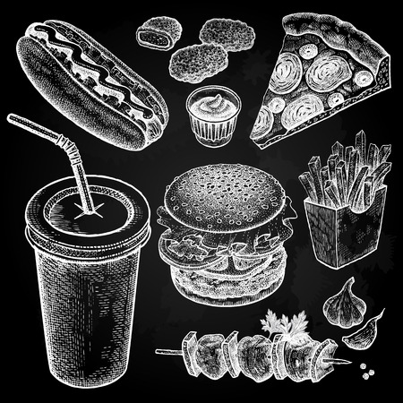 Food and drink. Burger, fries, pizza, nuggets, kebabs, garlic, ketchup, hot dog isolated. Designed for fast food restaurants and cafes. Vector illustration art set. White chalk on black board.