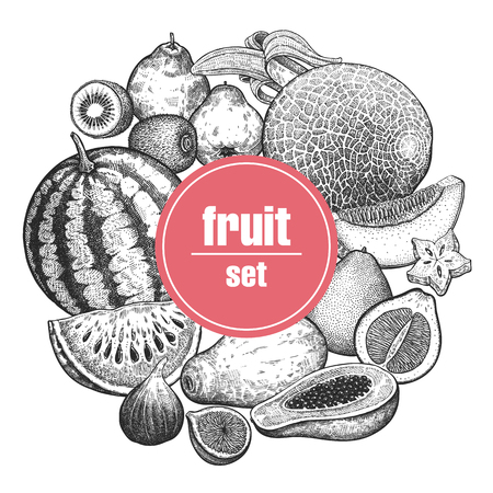 Decoration with fruits and berries. Watermelon, melon, banana, kiwi, quince, grapefruit, papaya, fig and carambola. Black and white. Vintage vector illustration art. Hand drawing. Kitchen design. Illustration