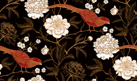 Peonies and pheasants. Floral vintage seamless pattern with flowers and birds. White, black, red and gold color. Oriental style. Vector illustration art. For design textiles, wrapping paper, wallpaper