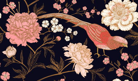 Peonies and pheasants. Floral vintage seamless pattern with flowers and birds. Black, pink and gold color. Oriental style. Vector illustration art. For design textiles, wrapping paper, wallpaper. Фото со стока - 103197140