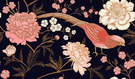 Piwonie i bażanty. Kwiatowy wzór bezszwowe z kwiatami i ptakami. Kolor czarny, różowy i złoty. Styl orientalny. Sztuka ilustracji wektorowych. Do projektowania tekstyliów, papieru do pakowania, tapet.
