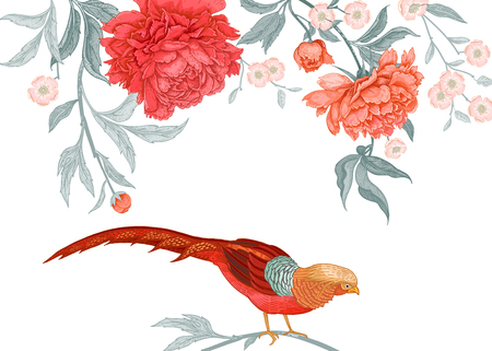 Card with flowers and birds. Peonies and pheasants. Floral exotic vintage decoration. Ancient Oriental style. Vector illustration. Template for design of wedding invitations and holiday greetings.
