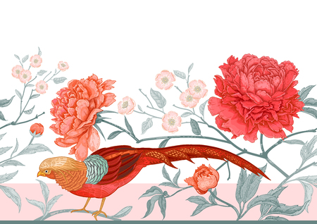 Peonies and pheasants. Floral exotic vintage seamless pattern with flowers and birds. Oriental style. Colorful vector illustration art. For design textiles, wrapping paper, wallpaper, interior