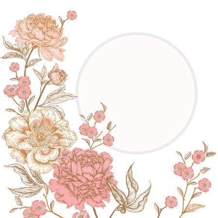 Tarjeta vintage de plantilla para el diseño de invitaciones de boda, saludos. Decoración vintage floral exótica. Peonías de flores de jardín. Estilo oriental antiguo. Arte de ilustración vectorial. Ilustración de vector