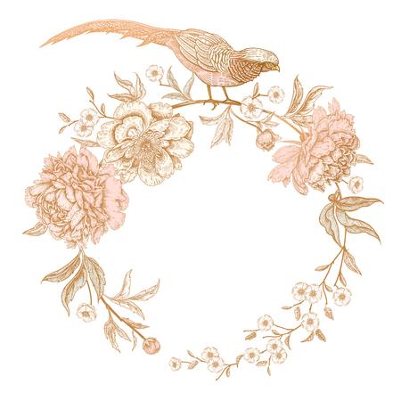 Karte mit Blumen und Vögeln. Pfingstrosen und Fasane. Blumen exotische Vintage-Dekoration. Alter orientalischer Stil. Vektorillustration. Vorlage für die Gestaltung von Hochzeitseinladungen und Feiertagsgrüßen.